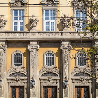 Facade of the Saint Emeric Cistercian Church in Budapest 11th district