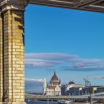 Looking from the Royal Garden Pavilion on the Pest embankment of the Danube